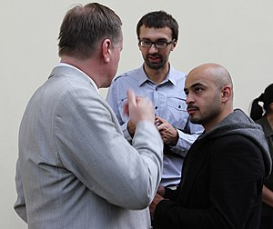 Ukrayinska Pravda - Ukrayinska Pravda's chief investigative journalists, Serhiy Leshchenko (center) and Mustafa Nayem (right), interview politician Taras Chornovil.