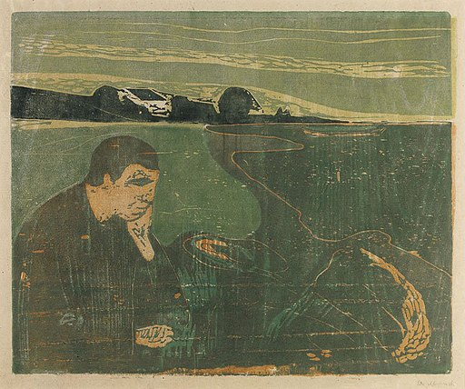 'Evening, Melancholy I' by Edvard Munch, woodcut, 1896