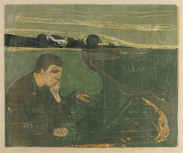 fileevening melancholy i by edvard munch woodcut