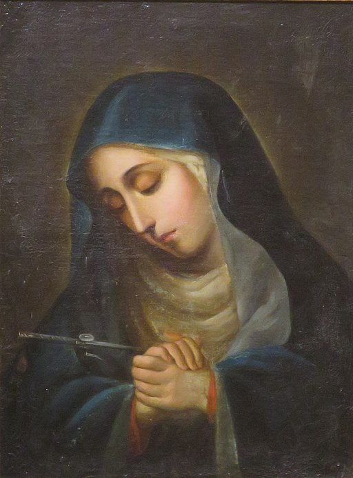 'Our Lady of Sorrows', possibly by Carlo Dossi, oil on panel painting, 18th century, El Paso Museum of Art