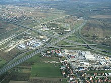 An aerial view of Lučko interchange
