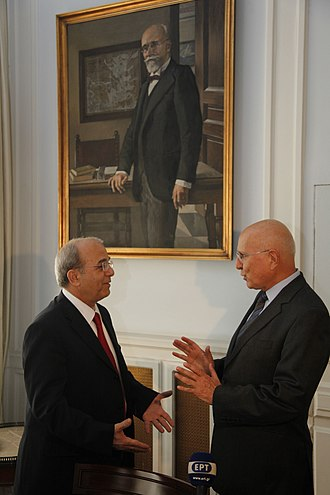 Stavros Dimas - Foreign Minister of Greece Stavros Dimas (right) meeting with the Ambassador of Cyprus, Joseph Joseph, in 2011