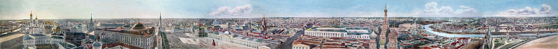 О. Кадоль. Круговая панорама Москвы со Спасской башни Кремля. 1819—1823 гг.
