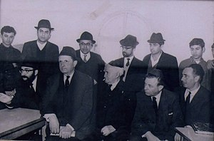 Eliyahu Ben Haim - Rabbi Ben Haim (top row, second from the left) with Shimon Peres, Teddy Kollek, and David Ben Gurion (bottom row) shortly after the Six Day War (1967). This picture hangs in the Old City of Jerusalem's Four Sephardic Synagogues