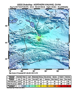 2017 Jinghe earthquake - The distribution of the seismic intensity of this earthquake, where the epicentre is labelled with a star (USGS)