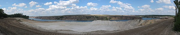 Recultivation and flooding of a former lignite mine north of Klinge, near Cottbus