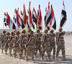 Battle of Basra (2008) - Members of Iraqi Army 3rd Brigade, 14th Division participate in a parade for Iraqi and Coalition military members attending the graduation ceremony, 13 February.