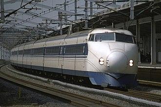 Hikari (train) - 0 series 12-car set SK5 on a West Hikari service, March 1997
