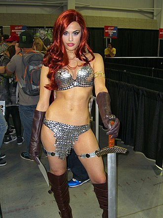 Red Sonja - Cosplayer Mandy Caruso at the 2011 New York Comic Con dressed as Red Sonja