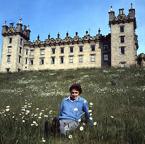 Floors Castle - Guy, 10th Duke of Roxburghe outside Floors Castle, by Allan Warren
