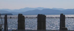 Burlington, Vermont - Lake Champlain from the Burlington wharves, New York's Adirondack Mountains in the background