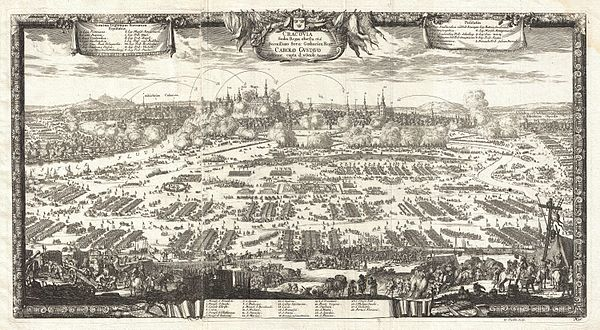 Siege of Kraków, 8 October 1655. View from 1697 by the German historian Samuel Pufendorf.