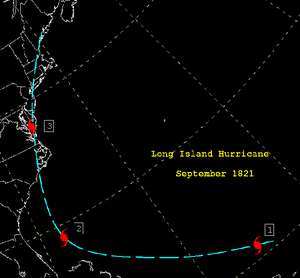 1821 Norfolk and Long Island hurricane - Image: 1821 Atlantic Hurricane Track Map