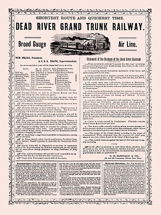 Temperance movement - An 1871 American advertisement promoting temperance, styled as a fictitious railroad advertisement
