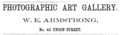1880 William E Armstrong photographer Union Street in Nashville Tennessee advert.png