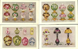 Fostoria Glass Company - Some Fostoria oil and electric lamps and hand-decorated vases, 1904.