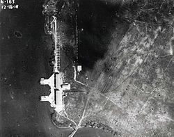 A black and white photo from the air of the Luke Field portion of Ford Island in 1918.