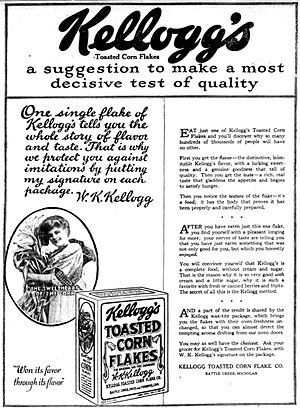 Corn flakes - A newspaper advertisement for Kellogg's Toasted Corn Flakes in 1919.