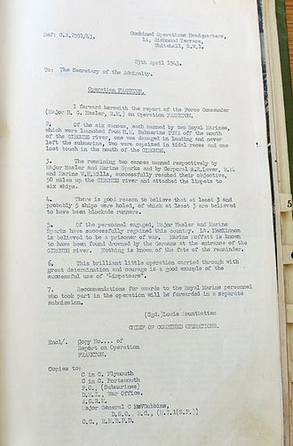 """Operation Frankton - Operation FRANKTON was described as 'This brilliant little operation carried through with great determinism and courage..."""" by Louis Mountbatten"""