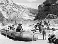 1953 Sierra Club Green River Canyon Trip. Sierra Club members beach the 13-ton inflatable pontoon boat raft at Dinosaur (e63bbea7dd514e039f7bf9013d4e079b).jpg