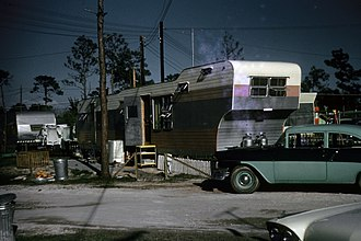 Mobile home - 1958 photo of Zimmer trailer in a trailer park in Tampa Florida, this area is now a gated community with new houses