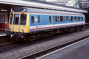 Greenford branch line - A Class 121 railbus in BR Network SouthEast livery at London Paddington station for the Greenford service (1988).