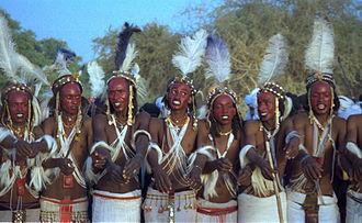 Wodaabe - Young suitors perform the Yaake dance in a Gerewol festival, Niger 1997