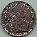 1 Piastre - Indo-Chinese Federation (1947 with security edge) Art-Hanoi 01.jpg