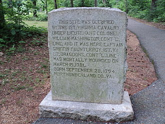 William Washington - Monument to 1st Virginia Cavalry, under command of Lieut. Col. William Washington, Guilford Courthouse National Military Park, present-day Greensboro, North Carolina