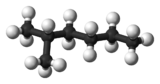 Ball and stick model of 2-methylhexane