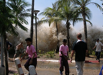 2004 Indian Ocean earthquake. The tsunami caused by the December 26, 2004, earthquake strikes Ao Nang, Thailand. 2004-tsunami.jpg