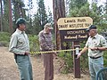 2005. Research plant pathologist Lew Roth prepares to cut the ribbon. Lewis Roth Dwarf Mistletoe Trail dedication. North Twin Lake, Deschutes National Forest, Oregon. (27842687839).jpg