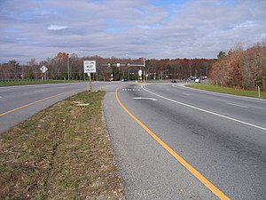 Continuous-flow intersection - A continuous flow intersection between Maryland Route 210 and Maryland Route 228 in Accokeek, Maryland.