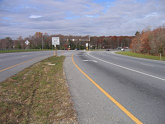 Maryland Route 228 - Westbound MD 228 approaching its continuous-flow intersection with MD 210 in Accokeek