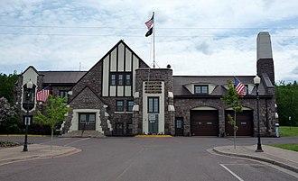 Bessemer, Michigan - Bessemer City Hall, Public Library and Fire Hall.