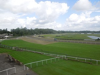 Kempton Park Racecourse - Start and return of circuit of inner and outer track
