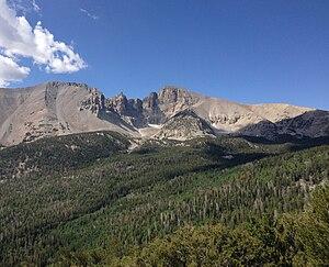 2013-07-14 09 37 43 Wheeler Peak viewed from Wheeler Peak Scenic Drive in Great Basin National Park.jpg