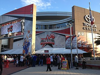 2013 NBA All-Star Game - Spectators make their way into Toyota Center through the LaBranch street entrance prior to tip-off of the 62nd NBA All-Star game on Sunday, Feb. 17, 2013.