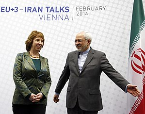 Catherine Ashton - Ashton and Iranian foreign minister Javad Zarif, the first round of Comprehensive agreement on Iranian nuclear program, Feb 2014
