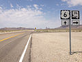 2014-07-17 11 59 43 View west along U.S. Route 6 at the junction with Nevada State Route 376 about 7.2 miles east of the Esmeralda County Line in Nye County, Nevada.JPG