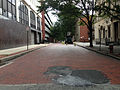 2014-08-30 10 45 20 View west along brick-paved West Front Street from Barrack Street in Trenton, New Jersey.JPG