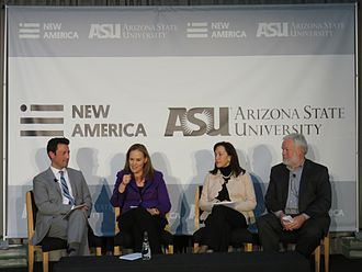 "Michèle Flournoy - Flournoy speaking on the panel, ""Is the Pentagon Adapting Fast Enough?"" at the New America Foundation first annual Future of War conference, Washington, D.C., 25 February 2015; also pictured, left to right: Kevin Baron, Flournoy, Janine Davidson, Thomas Ricks"