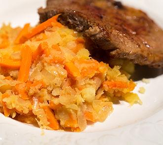Stamppot - Hutspot served with a pork chop