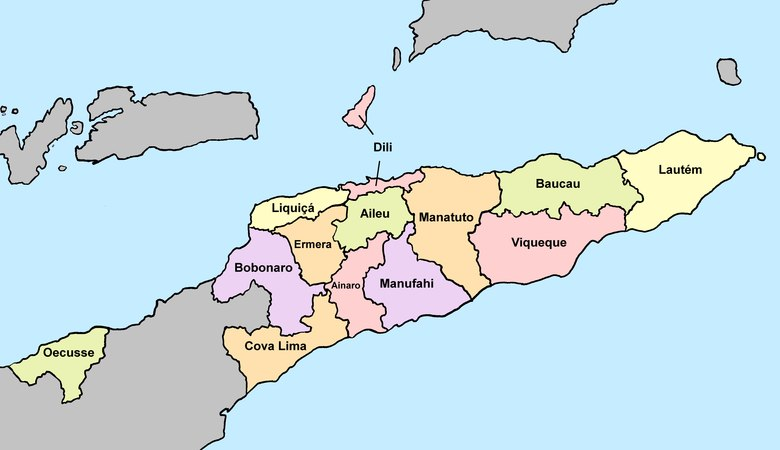 The thirteen municipalities of East Timor 2015 East Timor, administrative divisions - de - colour.tif