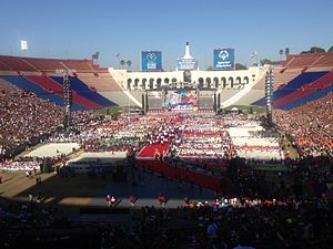 2015 Special Olympics World Summer Games - Athletes entering the Los Angeles Memorial Coliseum for closing ceremonies on August 2, 2015.