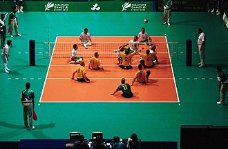 Volleyball at the Summer Paralympics - Australia versus Libya men's match at the 2000 Summer Paralympics in Sydney