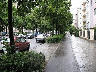 Cycling in Munich - Bike path along Goethestrasse in Munich.