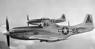 "131st Bomb Wing - North American P-51D-15-NA Mustang 44-15493 (5E-J) and P-51K-5-NT Mustang 44-11619 (5E-O) of the 385th FS, 364th FG. 5E-J, ""Jeanne II"" was flown by Capt. Gerald W ""Jerry"" Fine, and was named for his wife. 5E-O, ""Boilermaker Special"" was flown by Lt. Robert W. Boydston."