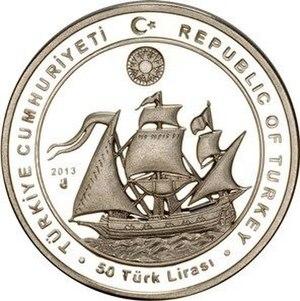 Seydi Ali Reis - The flagship of Seydi Ali Reis on a 50 lira coin
