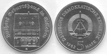 5 Mark DDR 1983 - 500. Geburtstag von Martin Luther - Geburtshaus in Eisleben -